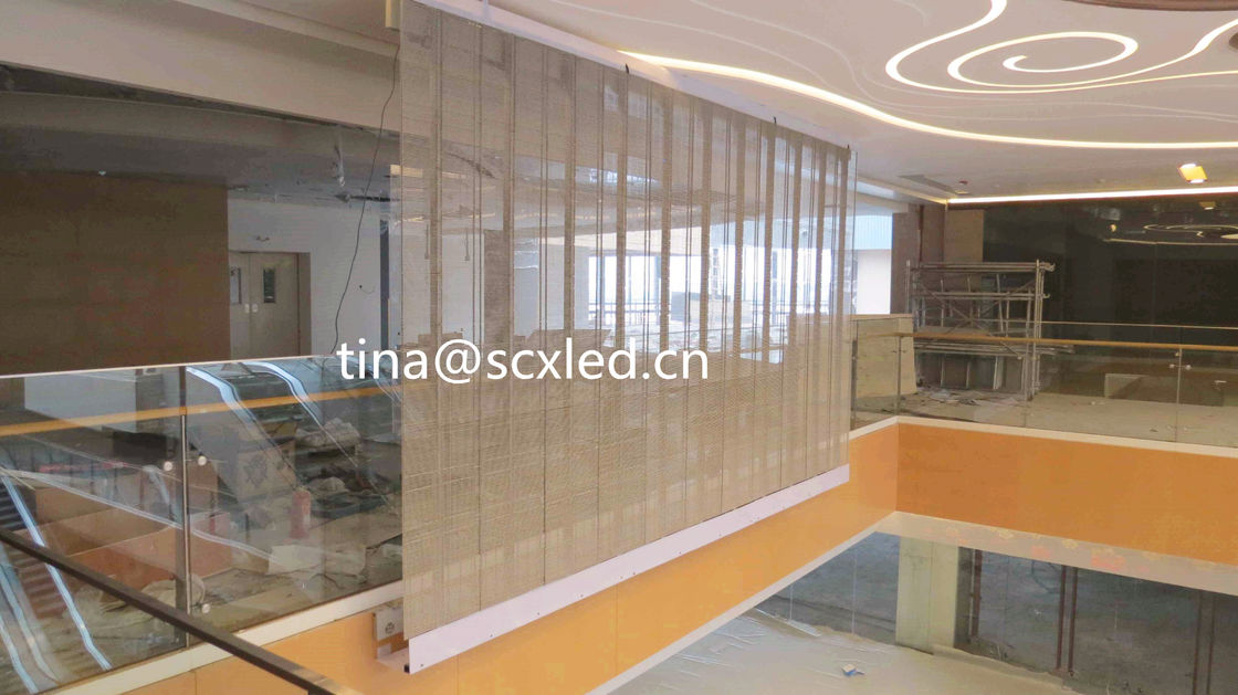 Full Color P10.42mm LED Transparent Video Glass Wall Screen Over 4200cd Brightness